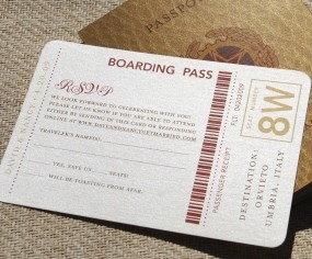 European Travel Passport Wedding Invitation (Antique Gold and Red)