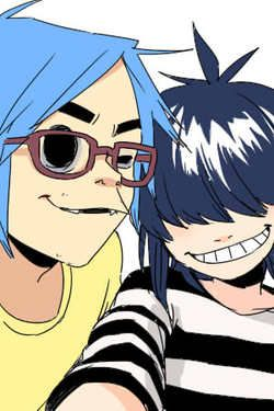 2D and Noodle selfie. Love the glasses and 2D's handsome and nerdy look <3