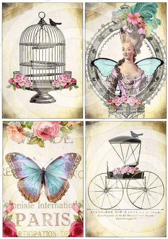 WHiMSiCaL Bird Cage Fairytale Carriage Paris Butterfly Queen Marie Antoinette DIGITAL COLLAGE SHEET