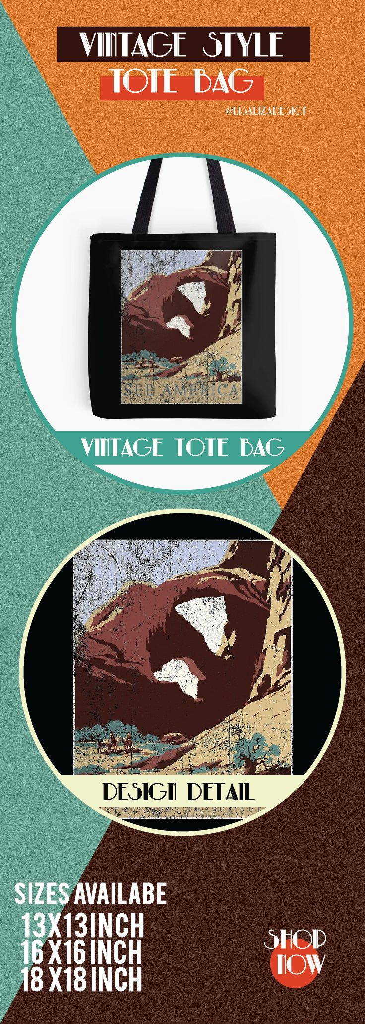 Vintage Travel Poster, Aged and Weathered - Southwest America USA.  ToteBags  A collection design inspired by vintage travel and advertisements posters  from the late 19th century printed on durable tote bags. 3 Sizes available .  Excellent gift ideas for vintage lovers and everyone. #vintage #hugs #holidaygift #oldies #homedecor #retro #travelposter #totebag #redbubble #teepublic #lisalizadesign #vintageposter #oldies