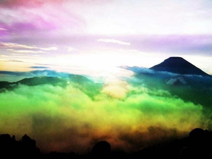 Rainbow sky on the top of Mount Sikunir, Dieng Plateau