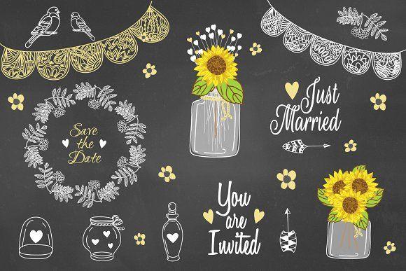 Sunflower Mason jar Rustic Clipart by CutePaperStudio on @creativemarket