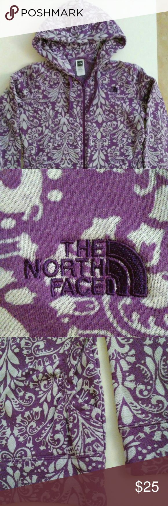 The North Face Full Zip Purple Hoodie Womens Large North Face Hoodie with?Purple Floral design  Size Large?  19? chest? 26? length? 20? sleeve The North Face Tops Sweatshirts & Hoodies