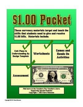 Counting One Dollar Bills Money Math Packet (FULL)…