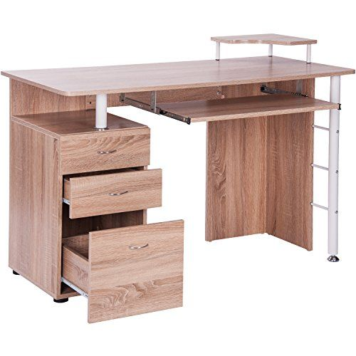 Merax Classic Home Office Oak Finish Computer Desk With Pull Out