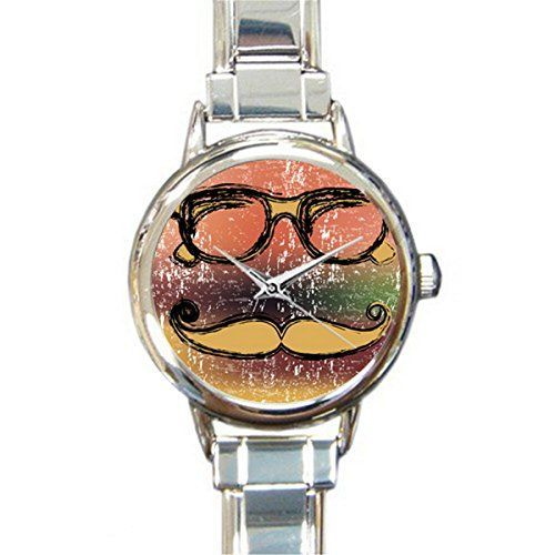 FCC133Stylish Design Retro Mustache Picture Wrist Watch Italian Charm Watch -- Find out more at the image link.