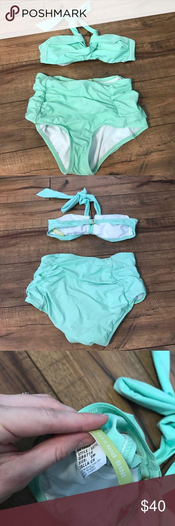 Gianni Bini Mint Green High Waisted Bikini Set Worn a few times and like new. Adorable high quality swimsuit and super flattering! Padded top. Gianni Bini Swim Bikinis
