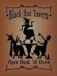 Witchcraft Black Hat Tavern Halloween witch decorations signs Primitives Witches…