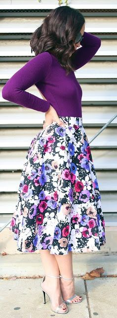 Fall trends | Purple top, floral skirt, heels. women fashion outfit clothing style apparel @roressclothes closet ideas
