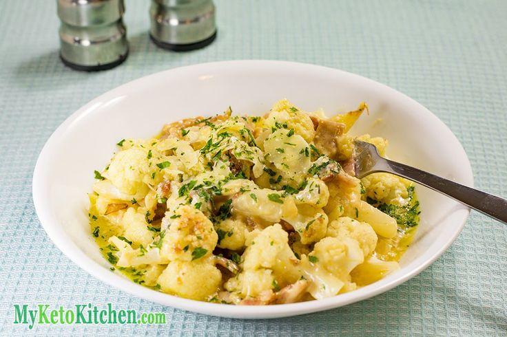 One Pan Low Carb Cauliflower Carbonara