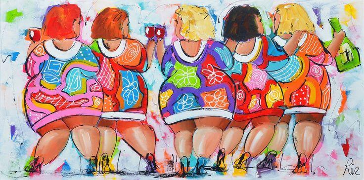 Dit is een: Acrylverf op doek, titel: 'Dikke dames schilderij' kunstwerk vervaardigd door: Liz