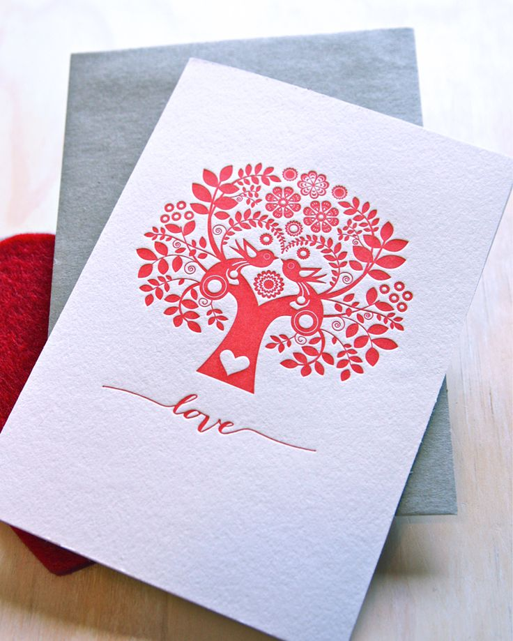 Fluid Ink Fine Letterpress of Australia - Red tree of life love –  Beautiful Scandinavian Folk Style inspired all occasion Card Featuring the tree of life printed in red with the word love in a hand drawn font –  A6 card with Kraft envelope  $6.95