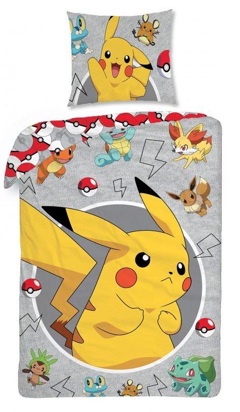 Šedé bavlněné ložní povlečení Pokemon