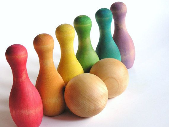 Rainbow solid wood bowling set. Awesomeness!!!