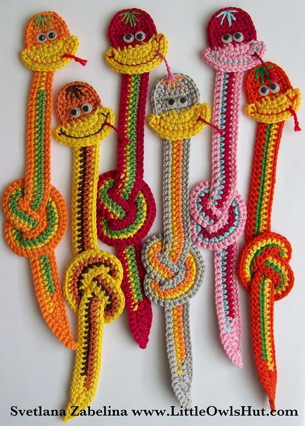 Amazing (and totally free) Crochet Bookmark Patterns - Lesezeichen Schlange Häkelanleitung