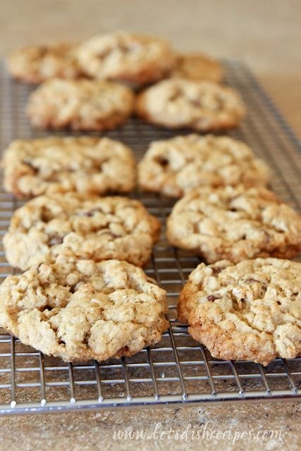 I consider oatmeal cookies the health food of cookies.  Oatmeal lowers cholesterol, right?  I love the hint of cinnamon in these cookies.  Both regular and quick cooking oats are fine in this recip...