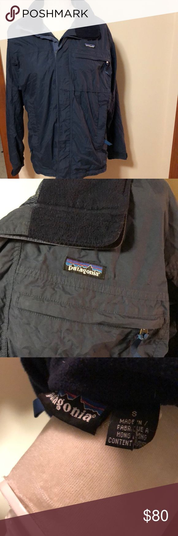 PATAGONIA ski jacket Size small men's (also could be worn by women) navy ski jacket in great condition! (Only flaw is wear on hood but hood can be rolled up like shown in photos)! Shell/lining are 100% nylon. Patagonia Jackets & Coats
