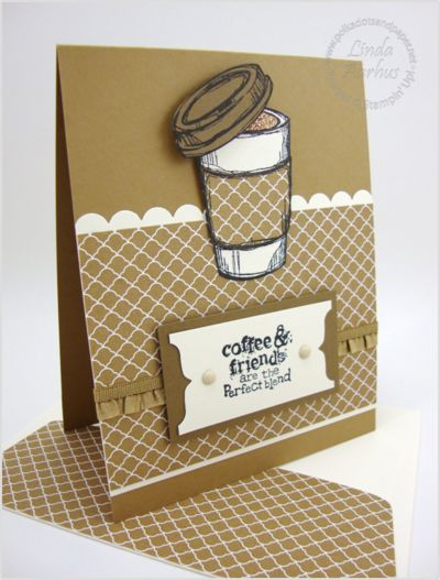 handcrafted greeting card ... monochromatic browns with Baked Brown Sugar predominating ... coffee theme ... luv the shiney champaign glimmer paper paper pieced in the take out cup ... like the design's clean lines and sweet details .... ruffle ribbon ... great friendship card ... not too fussy to send to a man ...  Stampin' Up!