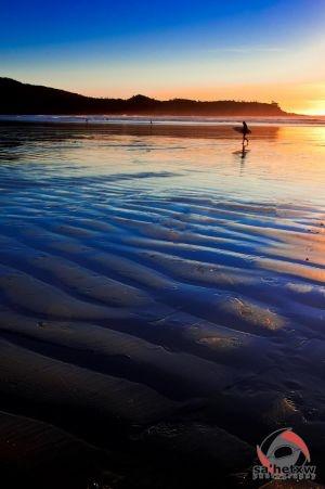 Surfer at Sunset at Mackenzie Beach, Tofino BC