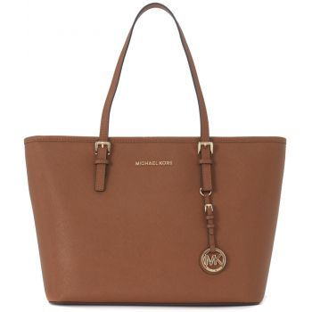 Geanta de umar Michael Kors Jet Set Travel Tz Tote Shopping Bag In Brown Saffiano Leather Brown de culoare maro de dama