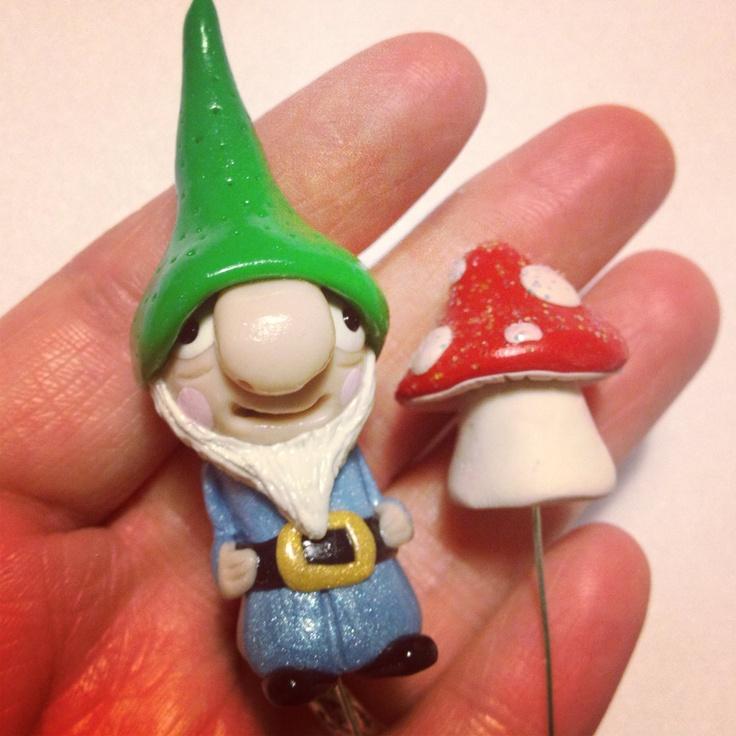 Clay Garden Gnome & Mushroom Plant Stake Set. $20.00, via Etsy.