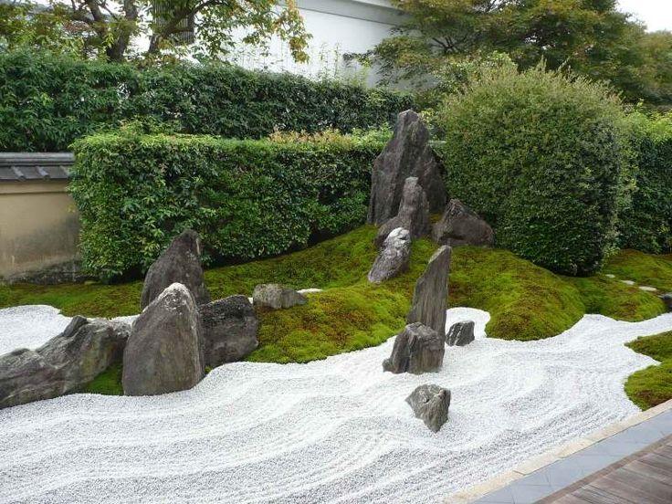 Kiesboden, Moos und Steine im japanischen Garten