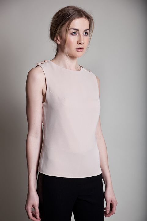 Crepe top with leather shoulder buttons