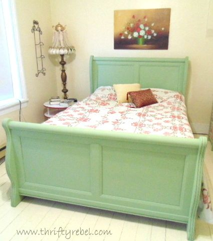 Sleigh Bed Makeover - I'm currently giving my master bedroom a makeover, and I painted my wooden sleigh bed with homemade chalk paint in an historic green colou…