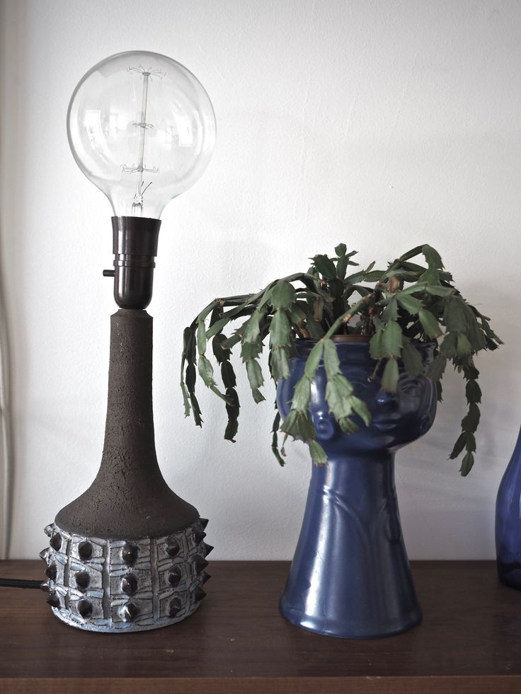 Retro ceramic lamp with an charming incandescent light bulb  See a DIY-guide here: