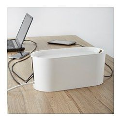 IKEA - ROMMA, Cable management box with lid, , Keeps the room looking neat and uncluttered as you can hide the cables and cords in the box while charging your devices.