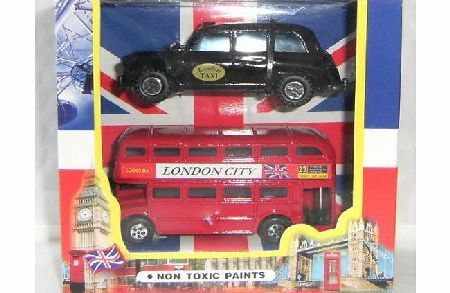 Hendbrandt London City Bus and London Taxi toy vehicles London Bus amp