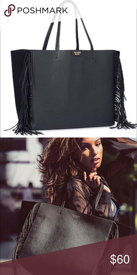 7125ab9cf5bf Victoria's Secret Fringe Tote Bag Victoria's Secret Black Limited Edition  Fringe Tote Bag. NEW WITH TAGS $85. Measures 23.5