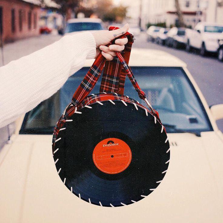 Red Plaid Songbag vinyl record bag www.thesongbag.com