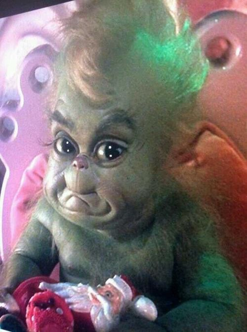 Grinch Baby!!...........I mean this in the nicest cutest way of course but I see similarities here.....looks like Bennett as a baby kinda lol