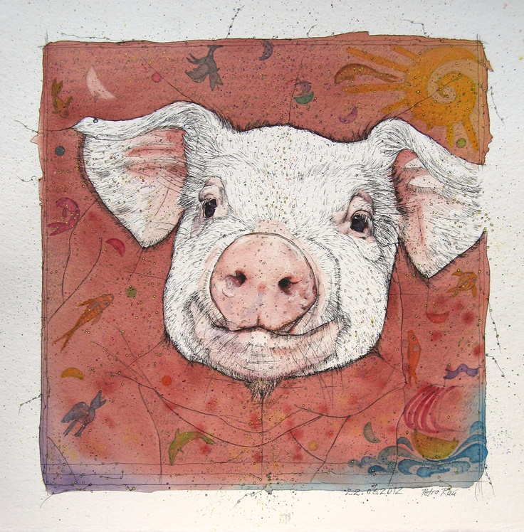 Pig (Chinese Zodiac)  Watercolour and Ink-Pen. Get in-depth info on the Chinese Zodiac Pig personality & traits @ http://www.buildingbeautifulsouls.com/zodiac-signs/chinese-zodiac-signs-meanings/year-of-the-pig-boar/