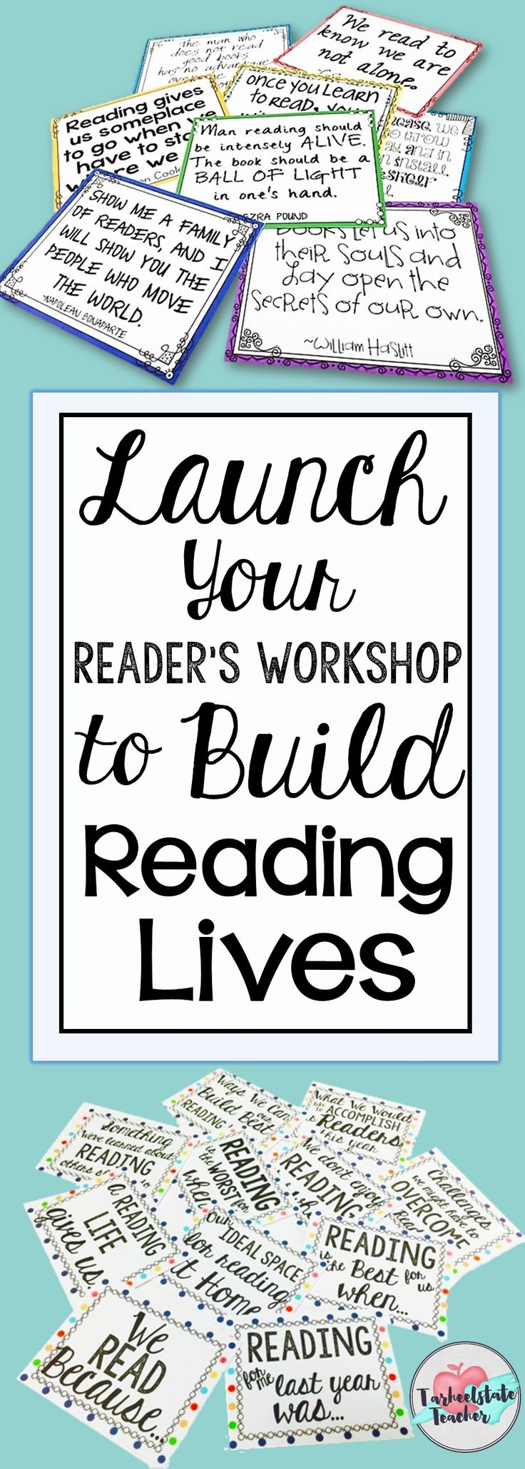 Build a Reading Life in your 4th 5th grade reader's workshop this year or have your students recommit to reading goals for New Years. Anchor chart parts, reading response journal/notebook prompts, quotation posters about reading-everything you need to create a love of reading and LAUNCH upper elementary workshop this year!