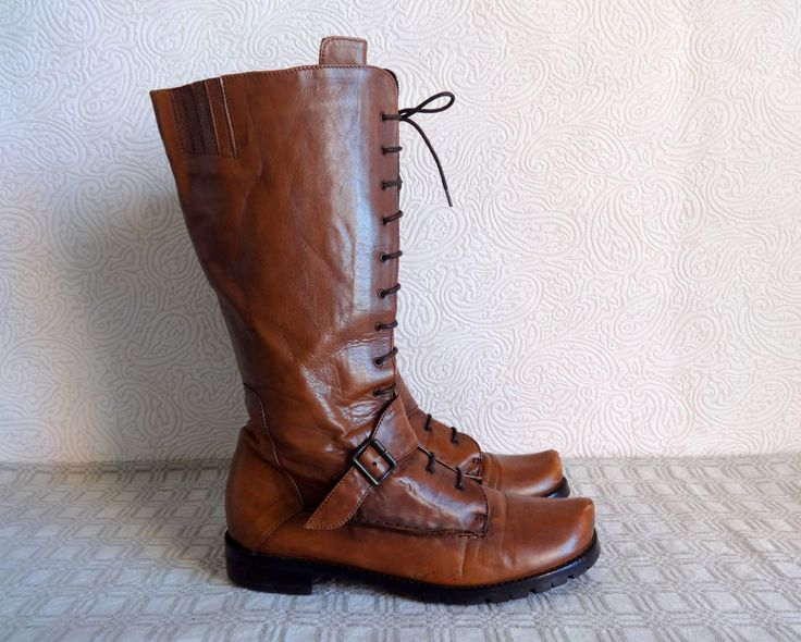 Brown Genuine Leather Lace Up Boots Under Knee Boots Large Size 40 1/2 EUR Vintage Women's Boots Zip Closure Low Heel Grunge Hipster Boots by Vintageby2sisters on Etsy