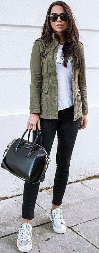 khaki jacket, black jeans, black designer bag