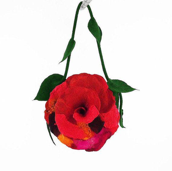 Felted Bag Rose Handbag Nunofelt Purse Felt Bag Nunofelt Purse Nuno felt Silk Eco rose fairy pink fuschiafloral shoulder bag Fiber Art boho