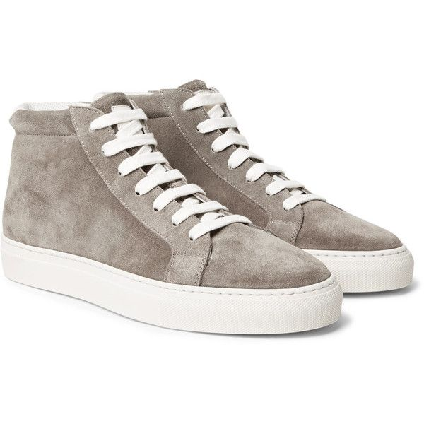 Brunello Cucinelli Apollo Suede High-Top Sneakers ($895) ❤ liked on Polyvore featuring men's fashion, men's shoes, men's sneakers, mens suede sneakers, brunello cucinelli mens sneakers, mens suede shoes, mens high top shoes and mens high top sneakers