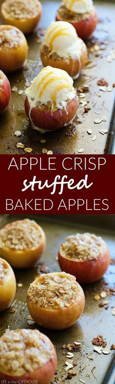 Baked apples stuffed with apple crisp! These are so delicious with ice cream and such a pretty presentation. Everyone will love these!