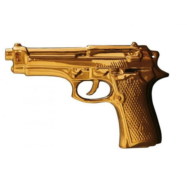 Zents Memorabilia Gold Gun ($85) ❤ liked on Polyvore featuring home, home decor, weapons, fillers, accessories, guns, other, zents, gold home accessories and cowboy home decor