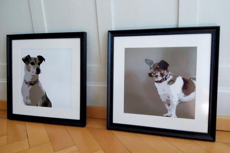 modern style dog portraits reduced on maximum 6 colors with wood frame