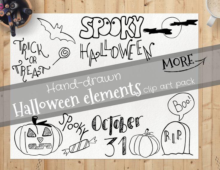 Halloween clipart, hand drawn halloween clipart, halloween design elements, commercial use halloween vector, halloween clipart set, doodle by CreateYourselfShop on Etsy