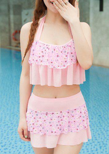 ruffled bikini| $9.21  kawaii pastel fairy kei gyaru bikini fachin swimsuit swimwear bathing suit under10 under20 under30 floral sammydress