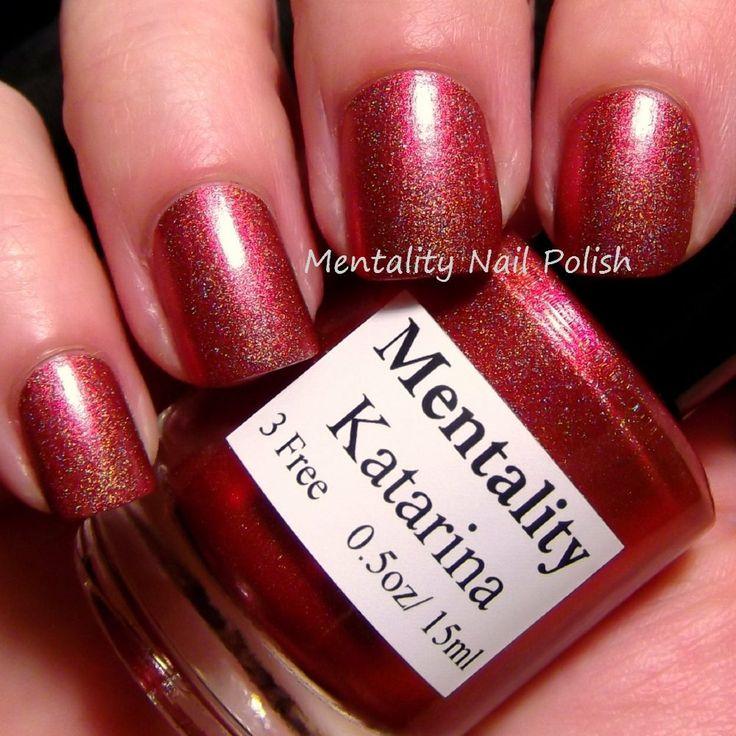Mentality Nail Polish - Katarina, a red gloss holographic nail polish with a red orange color shift.