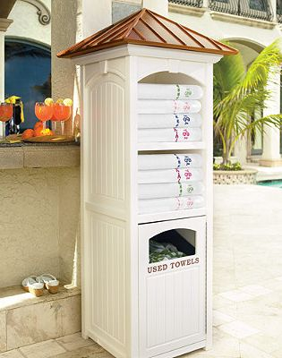 Store fresh towels in style -  this handcrafted pool towel organizer is built to last a lifetime!