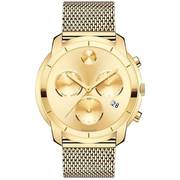 Movado Bold Yellow Gold Ion-Plated Stainless Steel Chronograph... ($845) ❤ liked on Polyvore featuring men's fashion, men's jewelry, men's watches, apparel & accessories, gold, mens gold chronograph watches, blue dial mens watches, movado mens watches, mens gold watches and mens chronograph watches