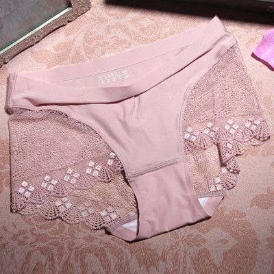 Women Panties Ice Silk Transparent Sexy Lace Briefs Mid Waist Cotton Crotch Seamless Lingerie Female Underwear Boxer Shorts