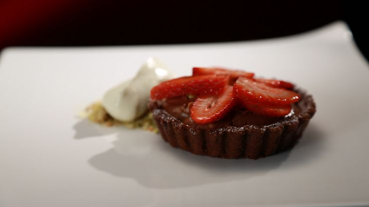 Dark Chocolate Mousse Tart with Strawberries and Pistachios [My Kitchen Rules Australia #mkr]